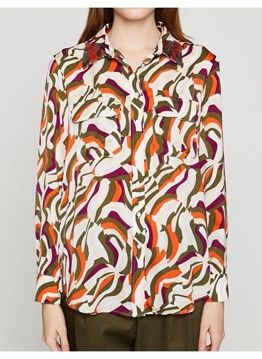 Koton Desenli Uzun Kollu Gömlek Haki